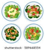 four types of salad on round... | Shutterstock .eps vector #589668554