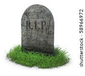 Gravestone With Grass On White...