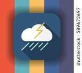 rain cloud and lightning flat...