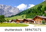 old farmhouse at the eng alm in austria - karwendel mountains - stock photo