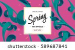 spring sale offer with text and ... | Shutterstock .eps vector #589687841