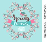 Spring Festival Template. Pink...
