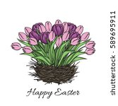 easter greeting card with a... | Shutterstock .eps vector #589695911