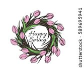 easter greeting card with a...   Shutterstock .eps vector #589695941
