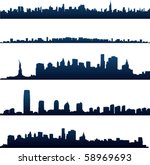 new york city silhouettes | Shutterstock .eps vector #58969693