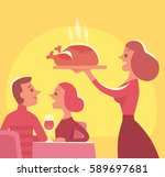 people by dinner table | Shutterstock .eps vector #589697681
