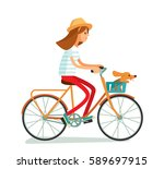 girl rides bike with dog | Shutterstock .eps vector #589697915