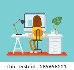 freelancer working at home... | Shutterstock .eps vector #589698221