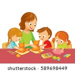 kids at art class model with... | Shutterstock .eps vector #589698449