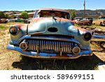 ARIZONA, USA - JUN 09, 2016: Old and rusted oldtimer in the western part of the USA. Oldtimer stands beside oldtimer in a meadow. A dream for collectors. - stock photo