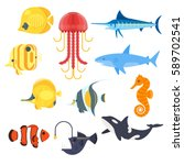 vector flat style set of exotic ... | Shutterstock .eps vector #589702541