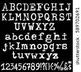 vector old typewriter font.... | Shutterstock .eps vector #589702691