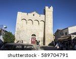 Small photo of SAINTES-MARIES-DE-LA-MER, FRANCE - August 12, 2016: The fortified church of Notre-Dame-de-la-Mer, an 11th century church in Saintes-Maries-de-la-Mer, France.