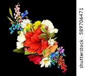 flowers. bouquet of wild roses  ... | Shutterstock .eps vector #589706471