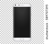 white realistic moder phone... | Shutterstock .eps vector #589707395