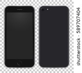black phone concept from front... | Shutterstock .eps vector #589707404