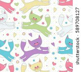 cute seamless pattern with cats ...   Shutterstock .eps vector #589708127