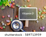 vitamin d word for healthy and... | Shutterstock . vector #589713959