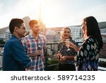 four friends standing together... | Shutterstock . vector #589714235