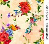 flowers. poppy  wild roses ... | Shutterstock .eps vector #589717154