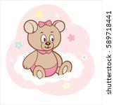cute cartoon bear girl on white ... | Shutterstock .eps vector #589718441