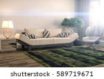 interior with sofa. 3d... | Shutterstock . vector #589719671