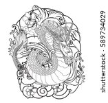 hand drawn dragon tattoo ... | Shutterstock .eps vector #589734029