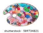 colorful palette oil painting... | Shutterstock . vector #589734821