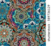 seamless ethnic pattern with... | Shutterstock .eps vector #589736129
