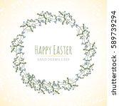 happy easter hand drawn vector... | Shutterstock .eps vector #589739294