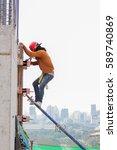 worker tied steel in site...   Shutterstock . vector #589740869