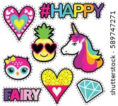 set of cute stickers with... | Shutterstock .eps vector #589747271