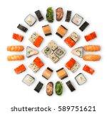 sushi platter isolated on white ... | Shutterstock . vector #589751621