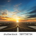 airport runway in the evening... | Shutterstock . vector #589758734