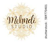 vector illustration of mehndi... | Shutterstock .eps vector #589770401