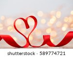 red heart with ribbon.... | Shutterstock . vector #589774721