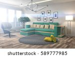 interior with sofa. 3d... | Shutterstock . vector #589777985