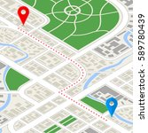 detailed city map in isometric... | Shutterstock .eps vector #589780439