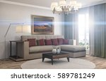 interior with sofa. 3d... | Shutterstock . vector #589781249