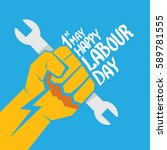 1 may   happy labour day.... | Shutterstock .eps vector #589781555