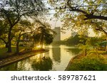 lake view of lumpini public... | Shutterstock . vector #589787621