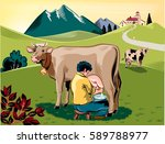 breeder intent to milk a cow on ... | Shutterstock .eps vector #589788977