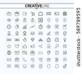 universal thin icons set for...