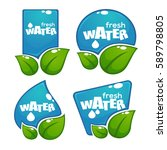 glossy and shine water labels... | Shutterstock .eps vector #589798805