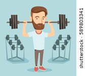 caucasian sporty man lifting a... | Shutterstock .eps vector #589803341