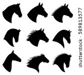 Horse head vector silhouettes. Black silhouette head horse, illustration of head wild stallion - stock vector