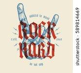 rock hard vintage hand gesture... | Shutterstock .eps vector #589814669