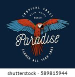 red ara parrot vintage paradise ... | Shutterstock .eps vector #589815944