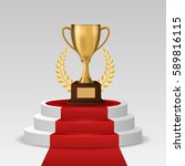 white winners podium for awards ... | Shutterstock .eps vector #589816115