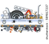 vector truck bumper with spares | Shutterstock .eps vector #589817237
